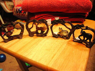 Eagle, Deer, Wolf And Bear In Branch Set (Set Of 4)
