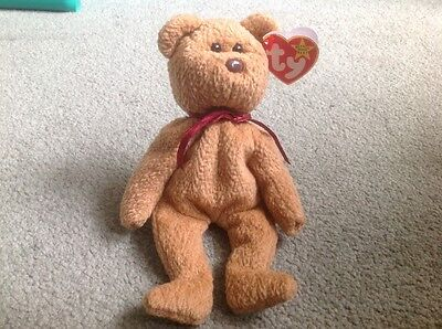 CURLY THE BEAR - Retired Original TY Beanie Baby With Tags
