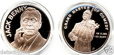Jack Benny Master of Comedy w/ Violin Beautiful Bronze Coin Medal