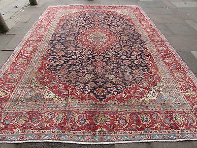 Old ShabbyChic Hand Made Traditional Persian Oriental Wool Blue Carpet 400x280cm