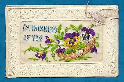 Ww1 Era Embroidered Silk Greeting Card From Soldier