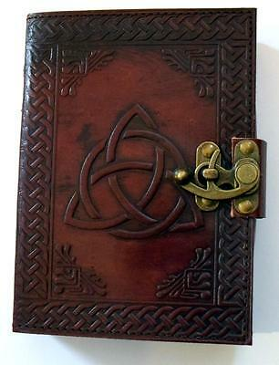 Triquetra Pattern Leather Bound Book of Shadows, Journal, Diary!