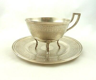 ANTIQUE FRENCH STERLING SILVER LARGE CHOCOLATE CUP SAUCER C1860 Piault 346grams