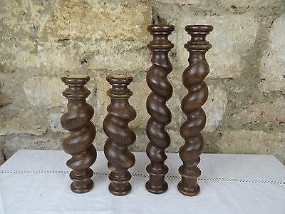 French Antique Spiral Turned Twist Oak Pillars Architectural Columns Wood