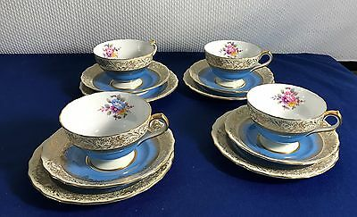 4 Spode Copeland Blue Ruskin Y4106 Plates, Cups And Saucers