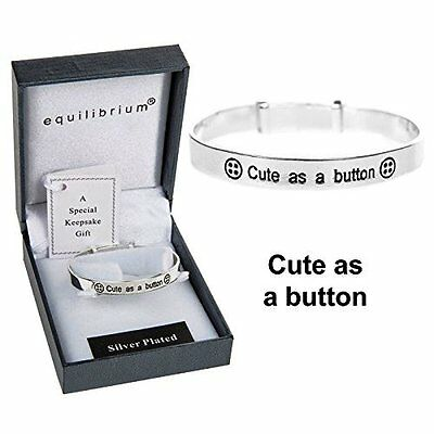 Equilibrium Child's Silver Plated Cute As A Button New Baby Christening Expandab