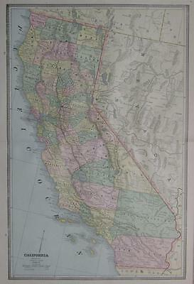 1885 California Antique Color Atlas Map** Nevada Map on back.. 132 years-old!!