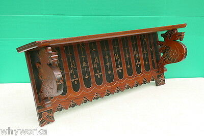 Antique AESTHETIC MOVEMENT Ebonized Walnut GRIFFIN Clock Mantel or Wall Shelf