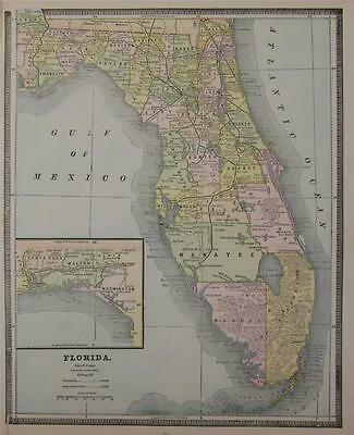 1885 Florida  Antique Color Atlas Map** Alabama map on back ...132 years-old!!