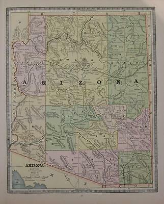 1885 Arizona Antique Color Atlas Map** Utah map on back .  132 years-old!