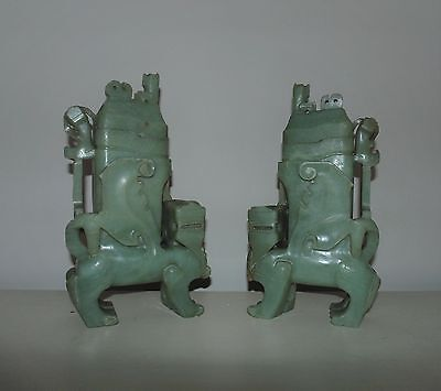 Pair Antique Chinese Green Carved Soapstone Foo Dogs Covered Urns Sculptures