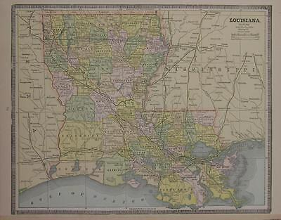 1885 Louisiana Original Color Atlas Map** Mississippi on back... 132 years-old!
