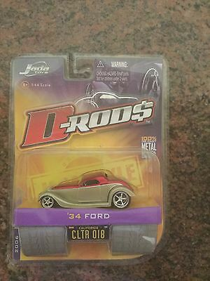 Jada Toys 1/64 Scale Diecast D-rods 1934 Ford  in Red/silver