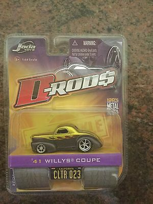 Jada Toys 1/64 Scale Diecast D-rods 1941 Willys Coupe in Gold Over Grey