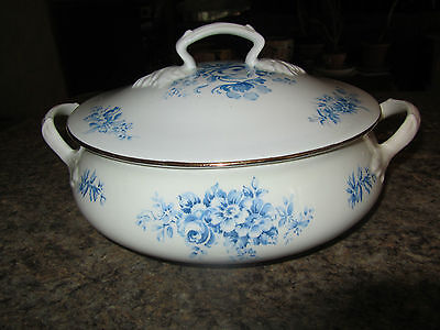 Crown Staffordshire Fine Bone China England Covered Vegetable Bowl Blue Floral