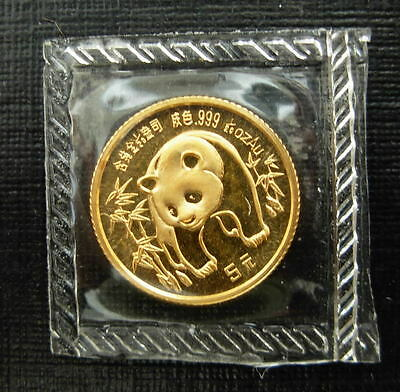 China 1986 Gold 1/20 oz Panda 5 Yuan Original Mint Sealed BU