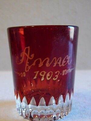 Antique Red Flash Anna 1903 Shot Glass Toothpick Holder