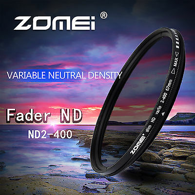 ZOMEI 40.5mm ND2-400 Fader Adjustable Variable Filter for Canon Nikon Camera