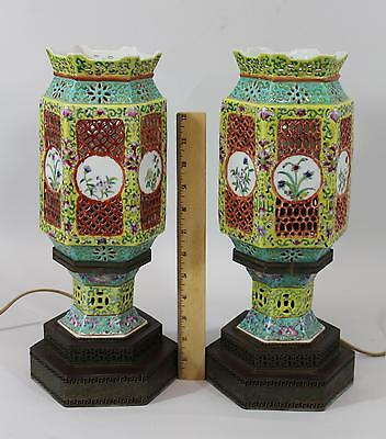 Pair Antique Early 20thC Reticulated Chinese Export Porcelain Vase Lamps, NR