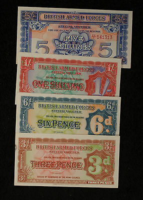 British Armed Forces 2nd Series, 1948 Set - 3 and 6 Pence, 1 and 5 shillings