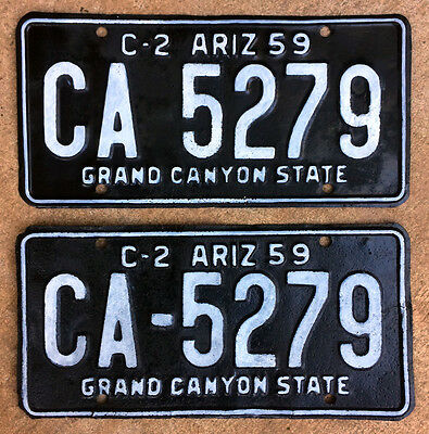 1959 Arizona truck license plate pair CA 5279 YOM DMV clear 1960 rat rod