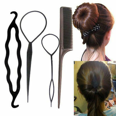 4PCS Magic Hair Twist Styling Clip Stick Bun Maker Braid Tool Hair Accessories