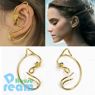New Beauty and The Beast Belle Cosplay Rose Earrings Ear Cuff Copper Gold Alloy