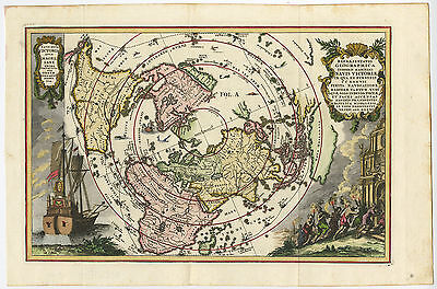 Antique Print-WORLD MAP-MAGELLAN-VICTORIA-SHIP-Scherer-c. 1700