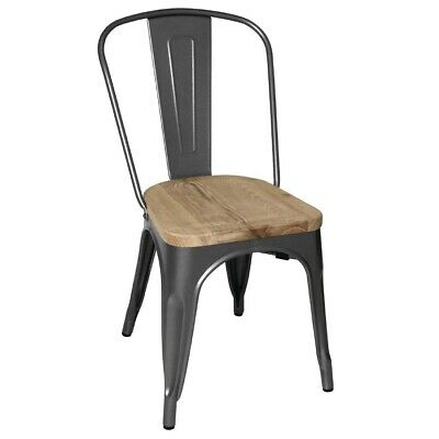 Bolero (Pack of 4) Steel Dining Side Chairs with Wooden Seat pads Grey BARGAIN