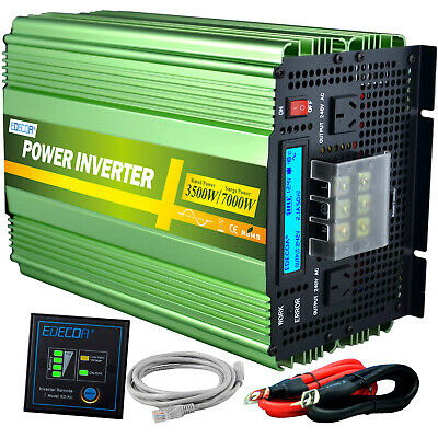 Pure Sinve Wave 3500W 7000W 12V 240V Power Inverter Camping Boat Caravan LCD
