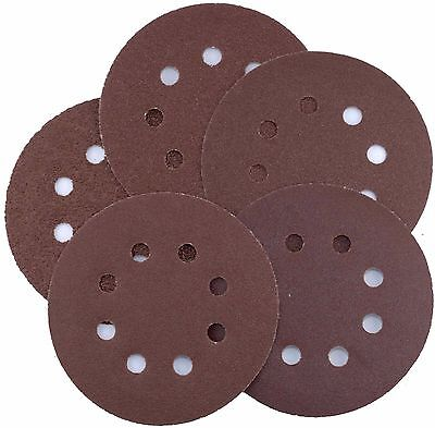 Orbital sanding discs Pads 5pc Sheets 125mm 40 60 80 100 120 grit Velcro backed