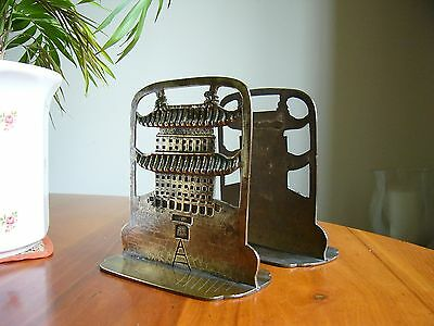 A Pair Of Unusual Antique Oriental  Brass 'pagoda' Book Ends - Chinese?