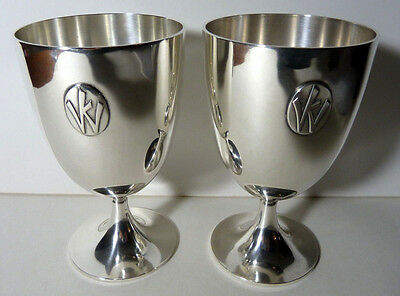 """Pair Of Cartier Sterling Silver Goblets W/ """"c.c.s. 1926-1946/1951"""" Presentations"""