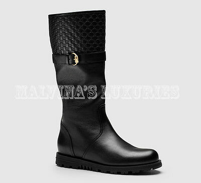 bde6ffe3276494  895 Gucci Boots Black Leather Microguccissima Detail Olive Buckle 35.5G Us  5.5