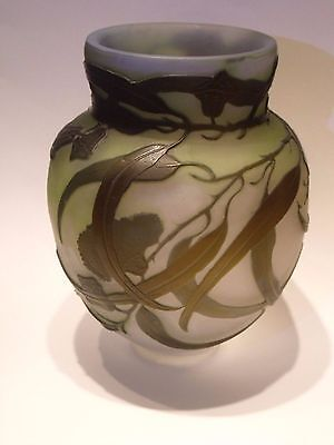 Emile Galle Cameo Glass Fire-Polished Cabinet Vase Authentic