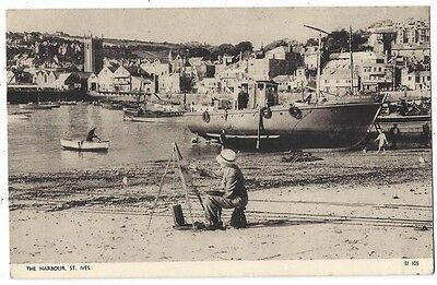 ST IVES Man Painting on the Beach at the Harbour, Postally Used Postcard 1953