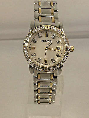 Women's Bulova 98R107 Two Tone Stainless Steel Diamond Accent MOP Dial Watch