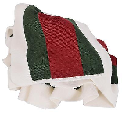 NEW Gucci 206086 Wool Silk WHITE Red Green Web Stripe Scarf Muffler