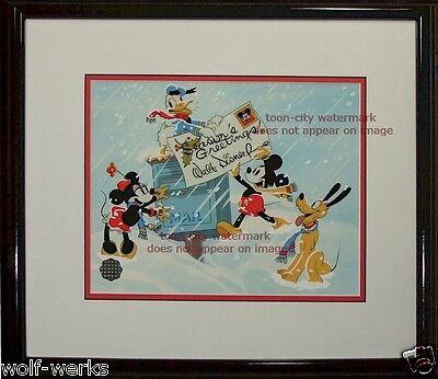 Mickey cel Mouse Minnie Pluto Duck Season's Greetings Disney sericel Christmas