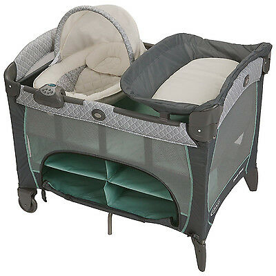 Graco Pack 'N Play Vibrating Playard with Newborn Napper Station DLX, Manor
