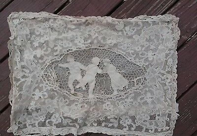 exquisite Hand embroidered cut lace antique Figural Victorian pillow Brussels ?