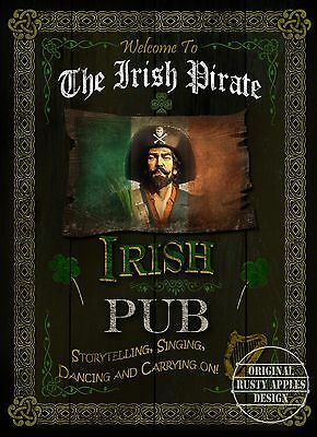 The  Irish Pirate  Pub Sign Vintage Style Metal Sign Great Gift