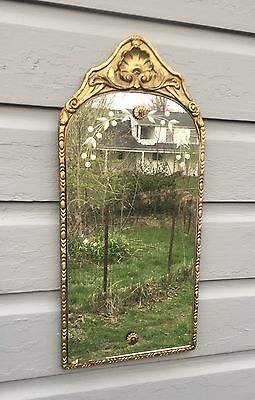 """1920's Ornate Gesso Greek Shell Frame Antique Vintage Wall Etched Mirror 19""""x9"""""""