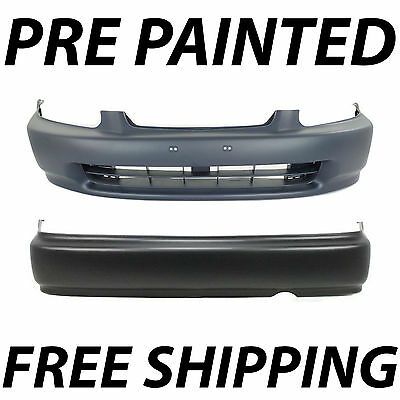 Painted To Match - Front & Rear Bumper Cover Kit Pair for 1996-1998 Honda Civic