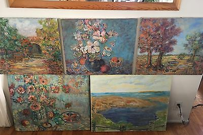 Charles A.clifford Lot Of 5 Impressionist Landscape Painting
