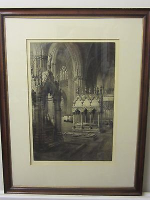 Etching of Durham Cathedral by Axel Haig (1835-1921) dated 1905