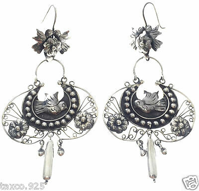 Taxco Mexican 925 Sterling Silver Frida Kahlo Style Deco Earrings Mexico