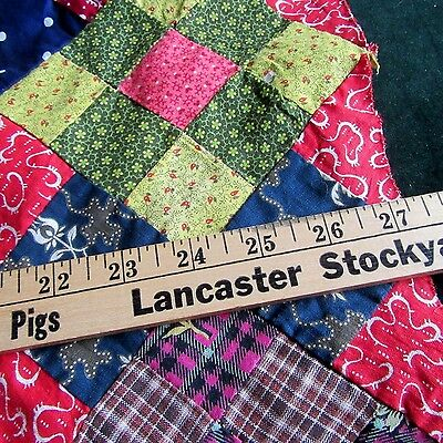 9 Patch Antique Quilt top Part Blue Red Old Print Calico Doll Bed Primitive DARK