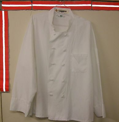 Chef Coat White Size 2XL Reed Long Sleeve Knots Button 100% Poly. Style $6.00