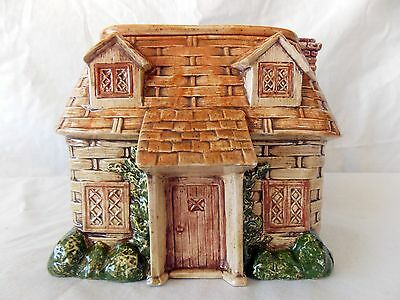 Cottage House Cookie Jar Basket Weave Ceramic  #4399